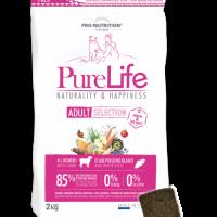 Pure Life Adult Selection Lamb 2kg – Пълноценна храна за пораснали кучета от всички породи с агнешко 2кг. Подходяща също и за чувствителни кучета.