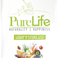 Пълноценна храна за кучета със склонност към наднормено тегло и/или кастрирани кучета – Pro-Nutrition Flatazor PureLife Light/Sterilized – без зърнени храни, 85% протеини от животински произход