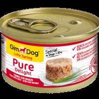GimDog Little Darling Pure Delight – Консервирана храна за кучета от дребни породи, с риба тон и говеждо, 85 г