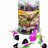 GimCat Играчка за котка – черно-бяла мишка с опашка от перца