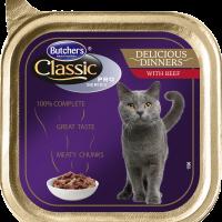 Butcher's Classic Pro Series Delicious Dinners 100г – Хапки в сос Грейви за котки, с говеждо
