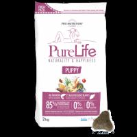 Пълноценна храна за малки кученца, кучета в напреднала бременност и кърмещи кучета, 2кг – Pro-Nutrition Flatazor PureLife Puppy – без зърнени храни, 85% протеини от животински произход