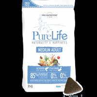 Пълноценна храна за пораснали кучета, 2 кг – Pro-Nutrition Flatazor PureLife Medium Adult – без зърнени храни, 85% протеини от животински произход