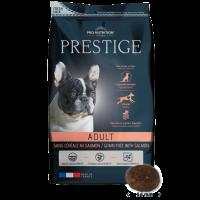 Prestige Adult CEREAL FREE with SALMON- Пълноценна храна за пораснали кучета от всички породи. Подходящо е и на чувствителни кучета и с непоносимост към зърнени храни или глутен -3 kg