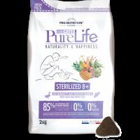 Pure Life Cat STERILIZED 8+ С ПАТЕШКО И БЯЛА РИБА 2 kg – без зърнени храни, 85% протеини от животински произход