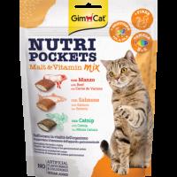 """GimCat Nutri Pockets – Хрупкави джобчета """"Mix от малц и витамини"""", с говеждо, сьомга, котешка трева, фибри, Омега 3 & 6"""
