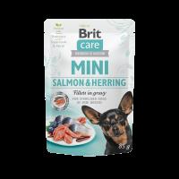 Brit Care Mini Salmon & Herring fillets in gravy for sterilised dogs – пауч за кастрирани кучета от малките породи със сьомга и херинга