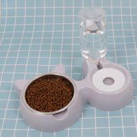 Диспенсър за вода с двойна купичка за кучета или котки, различни цветове