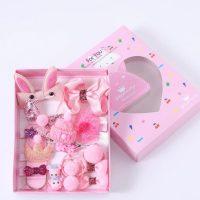 Подаръчен комплект за коса за куче панделки щипки розов №2