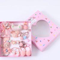 Подаръчен комплект за коса за куче панделки щипки розов №1