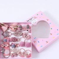 Подаръчен комплект за коса за куче панделки щипки розов №4