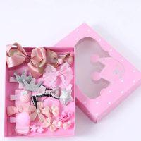 Подаръчен комплект за коса за куче панделки щипки розов №3