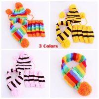 Зимни аксесоари за куче- плетена кучешка шапка, шал и калци – комплект, Различни цветове