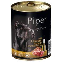 Piper премиум консервирана храна за кучета,  пилешки сърца/кафяв ориз – 800 гр
