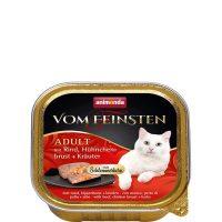 Пастет за котки Von Feinsten 2 в 1 от Animonda, Германия, говеждо + пилешки гърди с билки – 100 гр