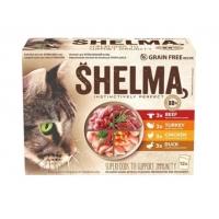 Shelma e нова линия паучове за израстнали котки над 12 месеца. Пълноценна храна за домашни любимци, богата на месо (88%), без зърно, за да осигурят страхотен вкус за котката. Подходящи са и за кастрирани котки.