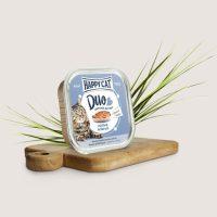 Храна за котки HAPPY CAT DUO – вкусни хапки в желе върху пастет с Говеждо и треска – 100 гр