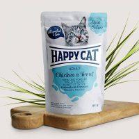 Happy Cat Adult – месо в сос, пилешко и пъстърва –  85гр.