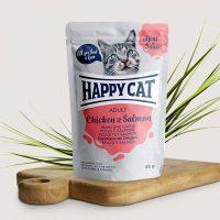 Happy Cat Adult – месо в сос, пилешко и сьомга –  85гр