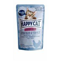 Happy Cat Pouch   – пауч за стерилизирани за котки с пиле и пастърва- 85гр
